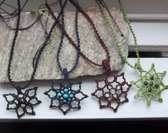 Macrame flower necklace with stones of your choice