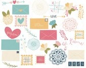 Valentine Clip Art Pack, Hand Drawn and Printable