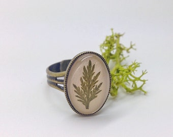 Forest ring - nature gift - leaf ring - real leaf ring with beige leather - nature inspired, cute, handmade, beautiful