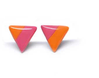 Stud earrings triangle geometric ear posts pink and orange 15mm