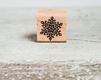 Snow flake - Vintage Style - Wooden Stamp  - Scrapbooking - Holidays - Christmas
