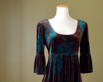 1990s Velvet Bell Sleeves Floral Dress with Bow Detail, Medium