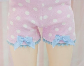 BJD Shorts - Slim MSD Minifee or SD - Light Pink with White Dots