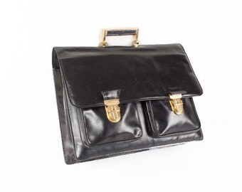 Reserved Black Patent Leather Briefcase / Black Leather Handbag / Office Bag / Man's Briefcase Bag / Black Gold Business Bag / MacBook