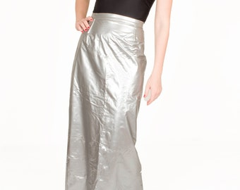 Vintage Silver Maxi Skirt / Full Length Space Skirt / Astronaut Skirt / Avant Garde Club Kid Skirt / High Waisted / Women's Size Medium