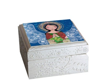 Rosary box, Jewelry Box Wood Handmade Religious art  Wooden Trinket Box Treasure Box Handmade, storage organization art box by EvonaGallery