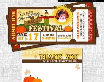 FALL FESTIVAL TICKET Invitations - Little Pumpkin Birthday + Bonus Thank You Card - (Printable Files) Fundraiser Event