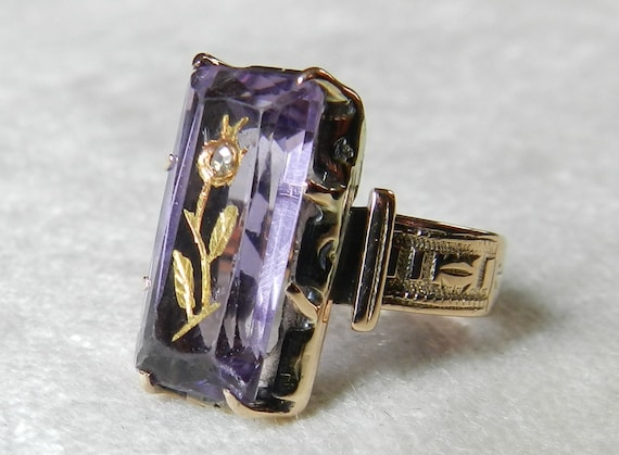 Engagement Ring Rose Of Sharon Ring Amethyst Ring Victorian 5