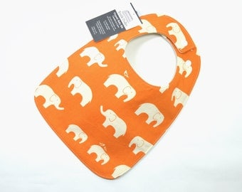 Organic baby bib, Elephant baby, Organic cotton, Gender neutral baby fits 3 months to 2 years plus
