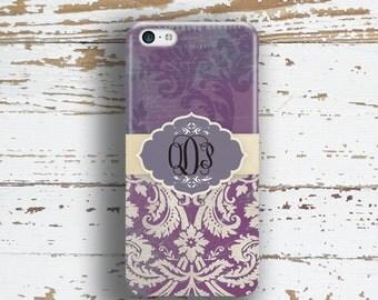 Monogram Iphone 6 case, Unique Iphone 5c case, Pretty iphone 6s case, Floral Iphone 5 case, Winter fashion accessories Purple grunge  (9784)