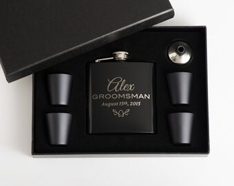 8, Flask Set, Flasks, Personalized Groomsmen Gift, Engraved Flask Set, Best Man Gift, 8 Flask Set