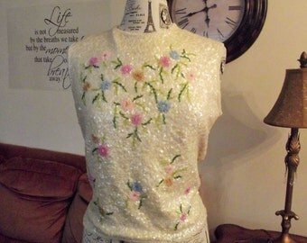 Beaded Blouse, Large Beaded Top, Sequin Blouse, Flapper Style, Pastels,
