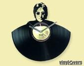 John Lennon Beatles gift wall clock from vinyl record rock unique handmade