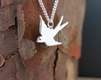 Swallow Necklace, Swallow Pendant, Bluebird Necklace, Swallow Jewelry