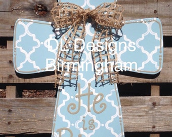 Easter door hanger He is Risen Easter Cross Door hanger or wall hanging with Moraccan print and burlap