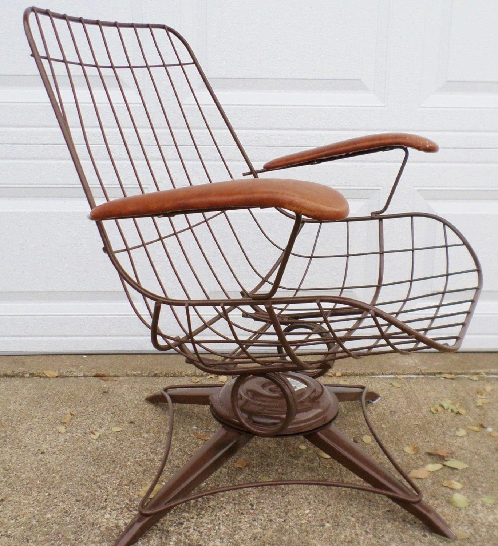 Vintage Mid Century Modern Eames Era Wire Chair Brown