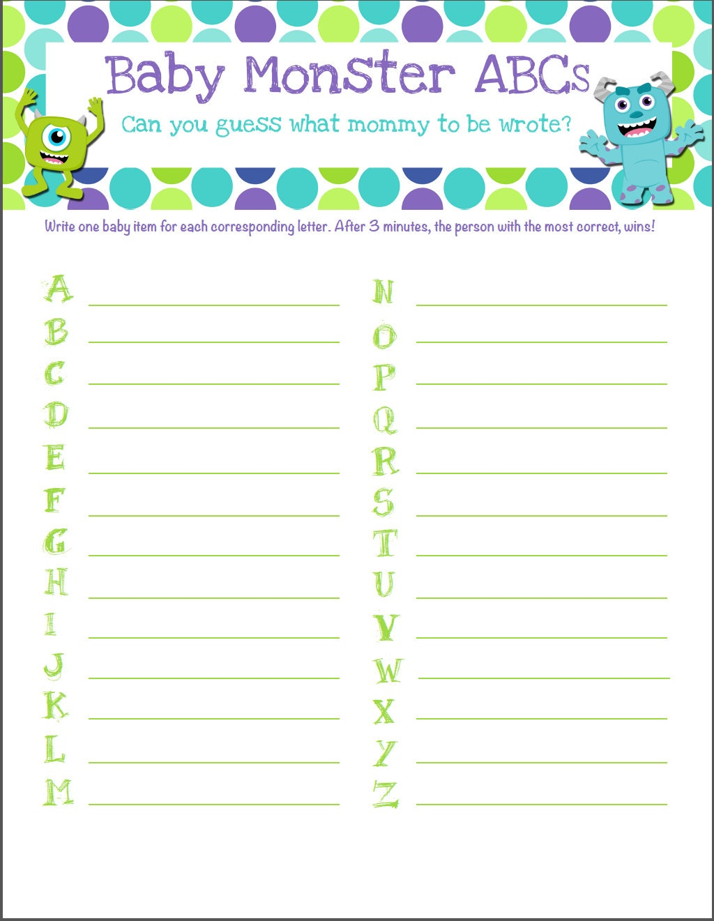 monsters inc themed baby shower game baby abcs