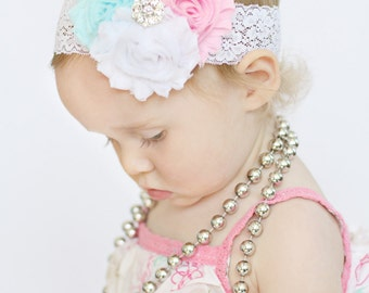 Baby Headband,  Infant Headband, Newborn Headband, Girls Headband, Toddler Headband, Shabby Chic Pink, Blue, and White, Easter Headband