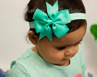 Baby Headband, Bow Headband, Infant Headband, Newborn Headband - Sea foam, Aqua Pinwheel Bow Headband, Headband, Seafoam Bow