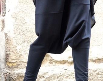 Loose Casual Black Drop Crotch Harem Pants / Extravagant Black Pants/Unisex pants A05206