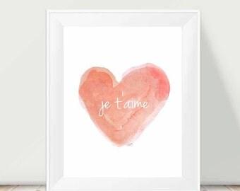 Coral Nursery, 11x14, Je t'aime Watercolor Art Print, Baby Nursery Art, Peach Nursery Decor, Love Quote, French Wall Decor, French Nursery