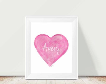 Hot Pink Art, 11x14 Personalized Watercolor, Girls Wall Decor, Hot Pink Wall Decor for Girls, Playroom Decor, Hot Pink Room Decor, Preppy