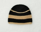 Adult Skull Cap, Crochet Hat, Black Tan Beanie, Mens Womens Beanie, Ski Hat, Winter Beanie, Zac Brown Band Inspired Beanie Skull Cap Adult,