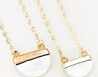 Malu necklace - gold shell necklace, gold half moon necklace, gold dip strand necklace, gold pendant necklace, hawaii jewelry, boho jewelry