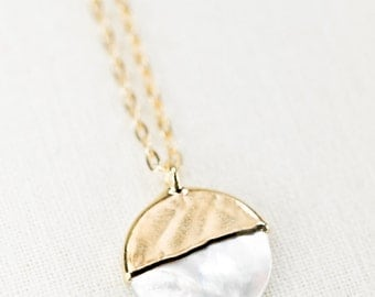A'ala - shell necklace, gold necklace, gold strand necklace, gold pendant necklace, hawaii jewelry, mother of pearl necklace, gift for mom