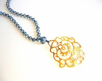 Blue Crystal Necklace, Gold pendant necklace, Rosary necklace, Navy blue necklace, Denim blue necklace, summer necklace, steel blue necklace