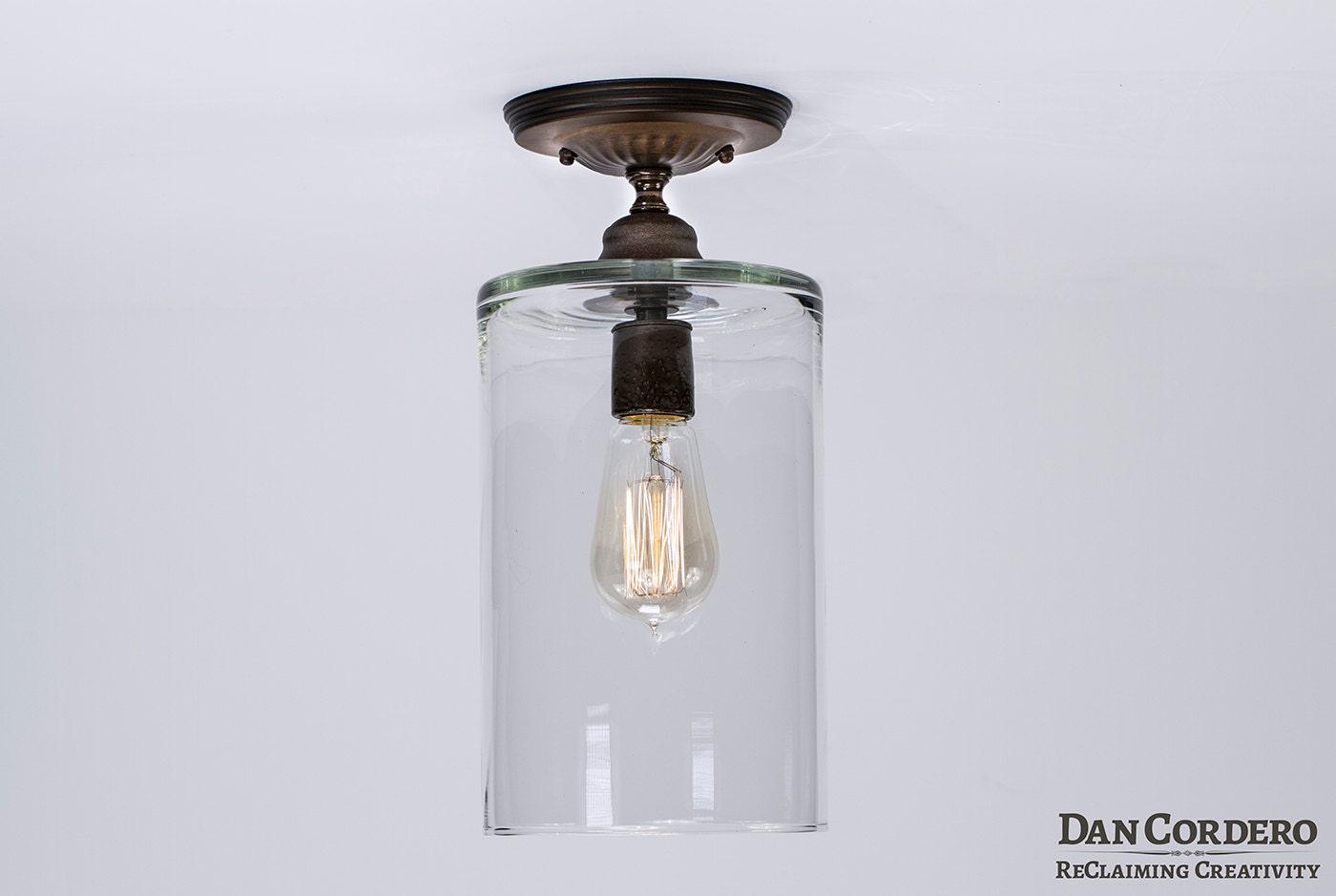 Bathroom Flush Ceiling Light Fixture Flush Mount Light: Flush Ceiling Mount Edison Light Fixture Oil Rubbed Bronze