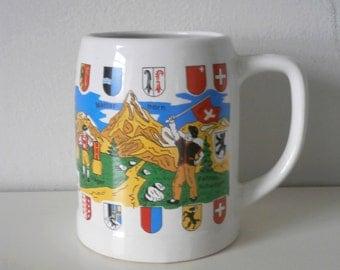 Large Vintage Switzerland Schweiz china mug tankard