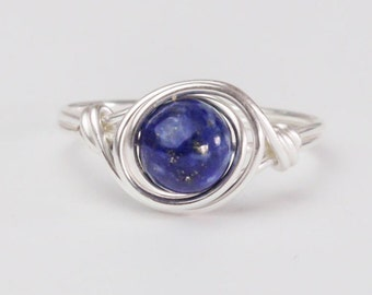 Lapis Lazuli Ring, Sterling Silver Ring, September Birthstone, Blue Ring, Birthstone Ring, Lapis Lazuli Jewellery, Any Size, Birthday Gift