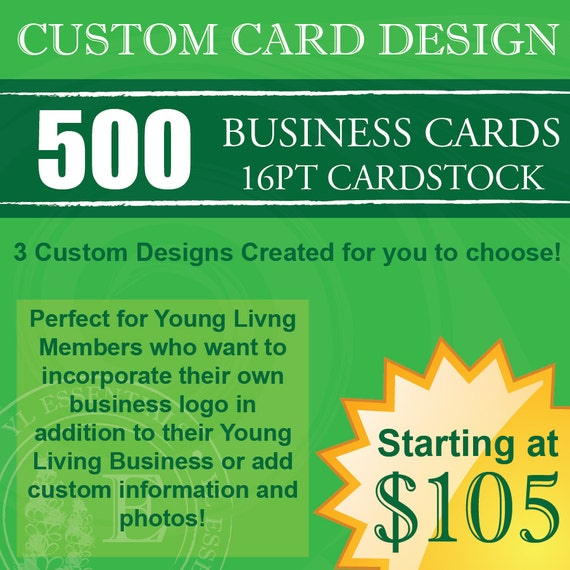 500 Young Living Business Cards CUSTOM Design & by
