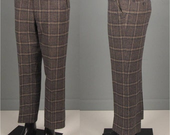 """Vintage Pants -- Mens 1970s Windowpane Houndstooth Navy and Tan Wool Trousers -- 33"""" Waist"""