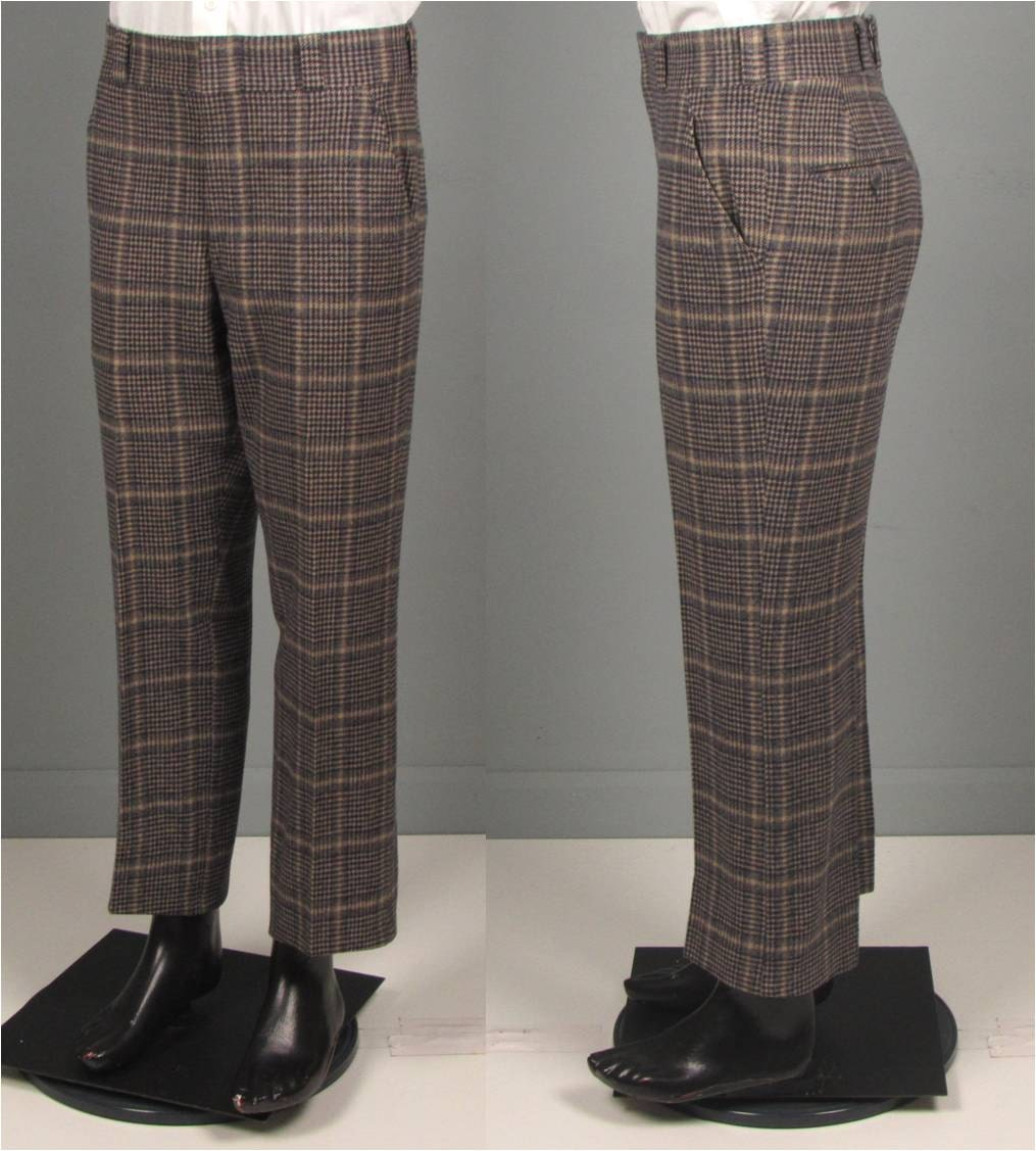 Vintage Pants Mens 1970s Windowpane Houndstooth Navy And