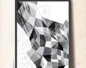 "Geometric Art Black White, ""Geometric Anatomy"". Abstract Wall Art A3. Geometric Poster, Scandinavian design inspired. TANGRAMartworks"