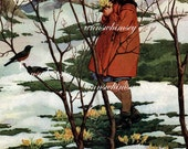 "Antique Art Restored ""The First Sign of Spring"" 1933 RESTORED Art Print - Lttle Girl Spies Robins  #128"