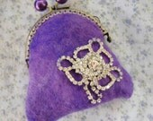 purplemetal frame wallet with a sparkle shiny flower, felted coin purse, felted mini wallet, felted accessories, purple felt wallet