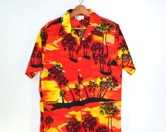 Tropical Shirt Hawaiian Shirt Camp Shirt Neon Tropical Print Shirt Mens Button up Tropical Shirt Mens Hawaiian Shirt