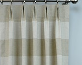 Oatmeal Beige Cloud Greige Linen Cabana Wide Horizontal Stripe Curtains - Pinch Pleat - 84 96 108 120 Long - Optional Blackout Cotton Lining