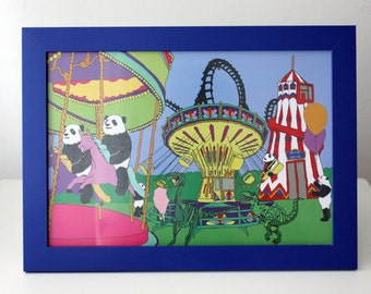 Framed dinosaur and Panda funfair artwork print A4