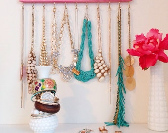 Pink Jewelry Hanger / Accessory Organizer / Bracelet Necklace Storage / Wall hanging / Hooks / Bubble Gum Pink Distressed