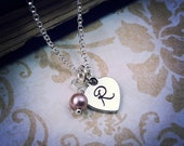 Handstamped Heart Necklace, Your Choice of Pearl, Initial Necklace, Pearl Necklace, Initial and Pearl, Bridesmaid Gift, Bridal Necklace