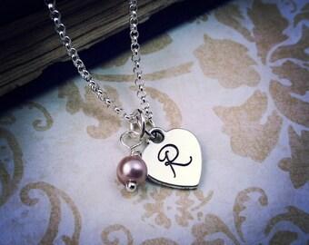 Handstamped Heart Necklace, Graduation Necklace, Initial Necklace, Pearl Necklace, Initial and Pearl, Bridesmaid Gift, Bridal Necklace