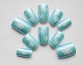 Snowflake Fake Nails, Acrylic Nails, False Nails, Press on, Nails, Winter, Snowflake, Icy, Blue, Glue On, Christmas