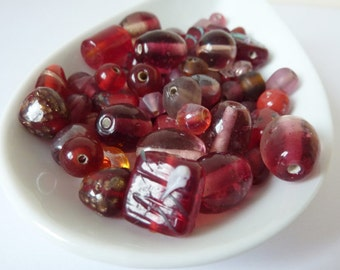 Red Bead Mix, Red Glass Bead Soup, Cherry Red Glass Beads, Destash Beads UK