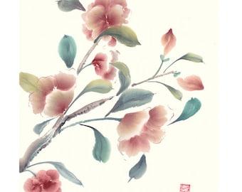 Red Camellia Original Watercolor Painting Chinese Brush Artwork