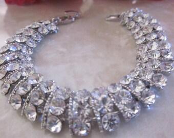 Vintage Rhinestone Silver Bracelet, Bridal, Engagement, Wedding, Bridesmaid, Mother of Bride, Formal Bracelet, Bright Silver Setting, Gift
