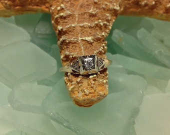 SALE CAVIAR DREAMS -Mid Century Color G Clarity SI2 .06ct Diamond 14K Solid Yellow Gold Solitaire Engagement Ring - Size 7.5 Etsy andersonhs